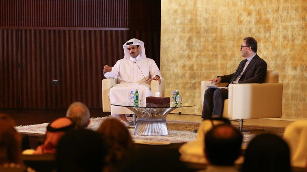 His Excellency Mr. Saad Sherida Al-Kaabi with Dean Ahmad Dallal