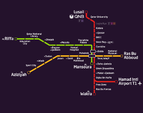 Doha Metro map, covers the three different lines (green, red and gold) and their different stops.