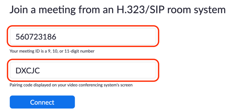 Join a Zoom meeting from a H.323/SIP room system