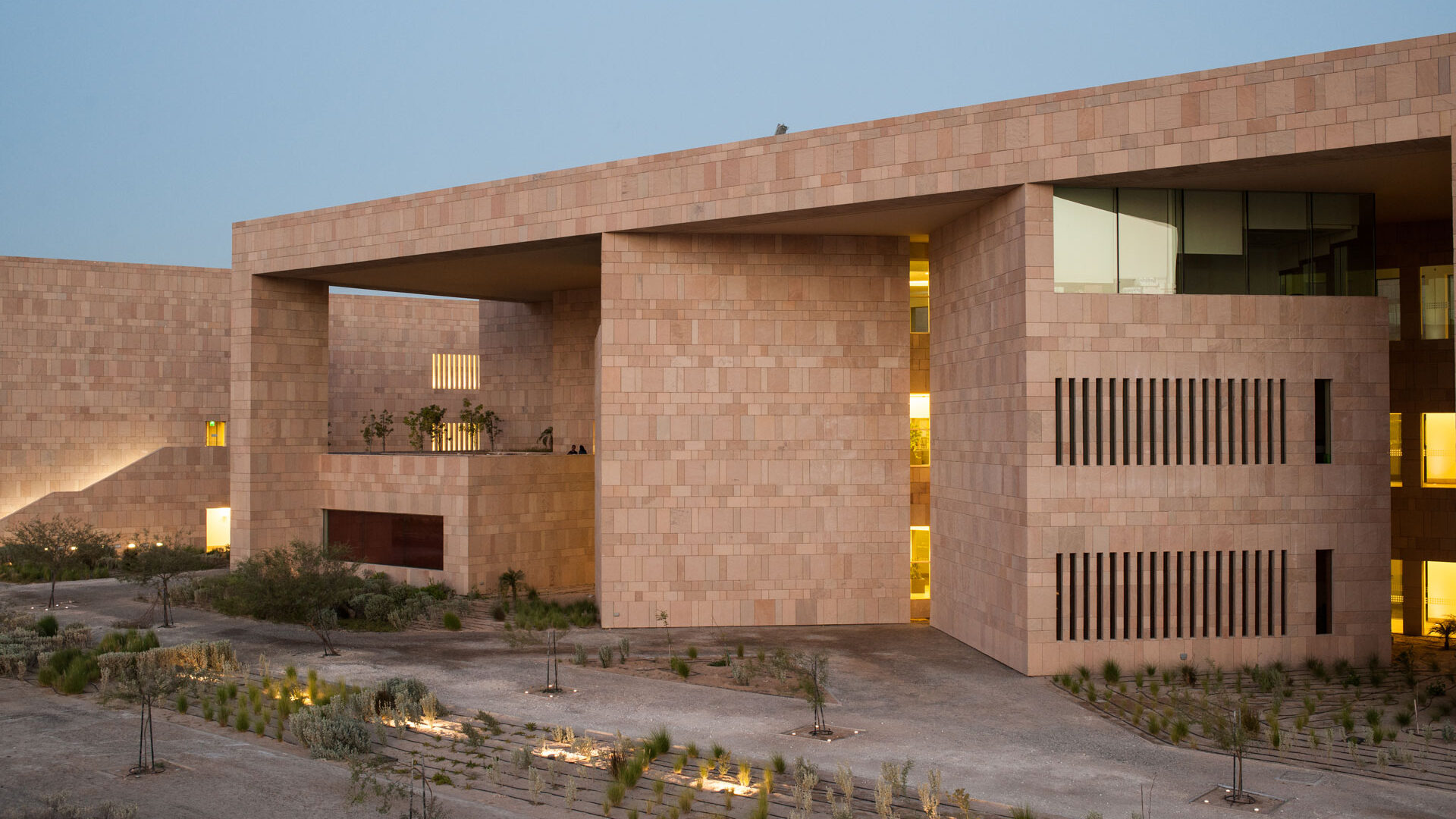 Picture of Georgetown Building taken from the side if QNCC.