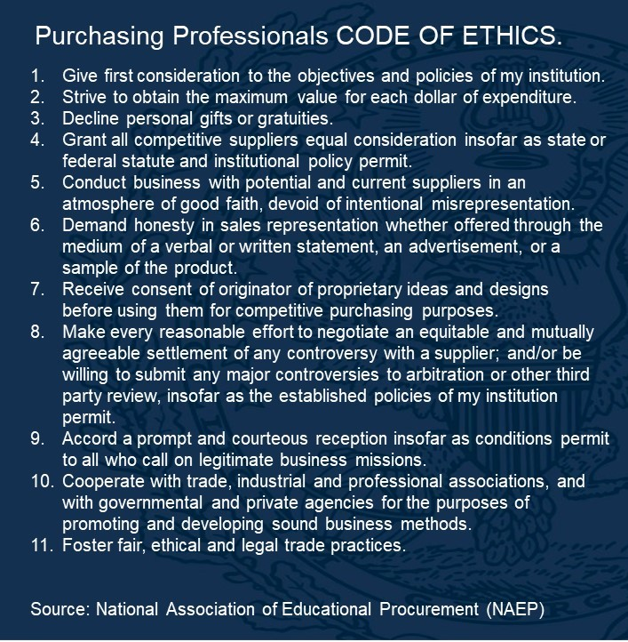 Purchasing professionals code of ethics
