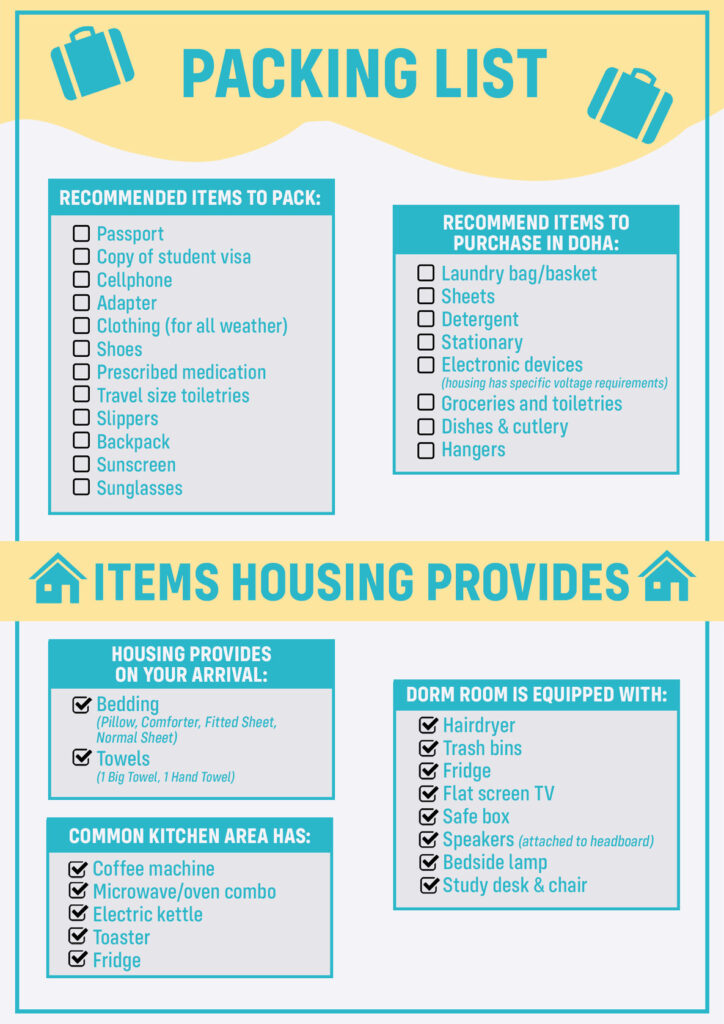 Image showing the facilities available in the dorm room and the recommended packing list