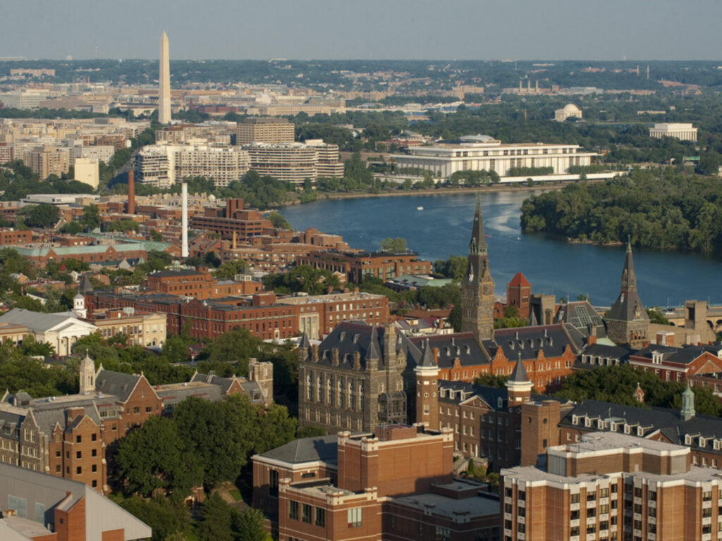 Aerial Photo of Georgetown in Washington DC Campus