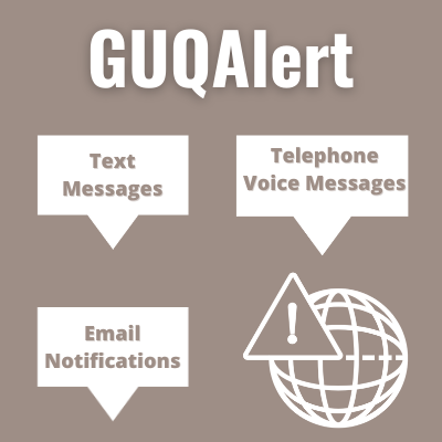 White Text on Grey Background reads: GUQAlert | Text Messages | Telephone Voice Messages | Email Notifications. There is an image of the network sign with an exclamation mark on the bottom right of the picture