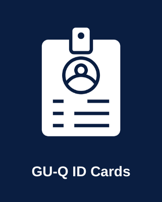 Picture of an ID card with the text: GU-Q ID Cards