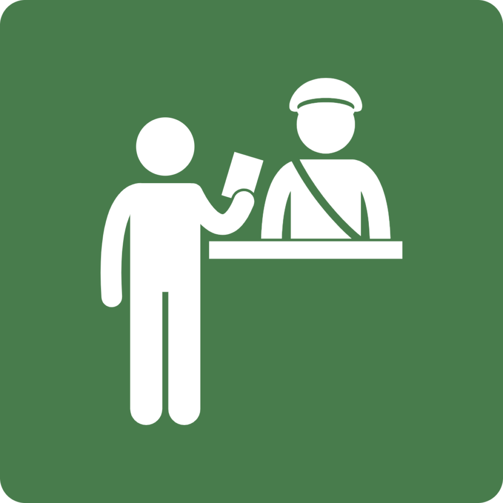Image shows a person checking in with a guard