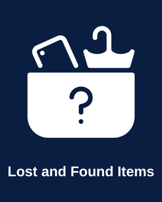 Picture of mobile and umberella in a basket with the text: Lost and Found