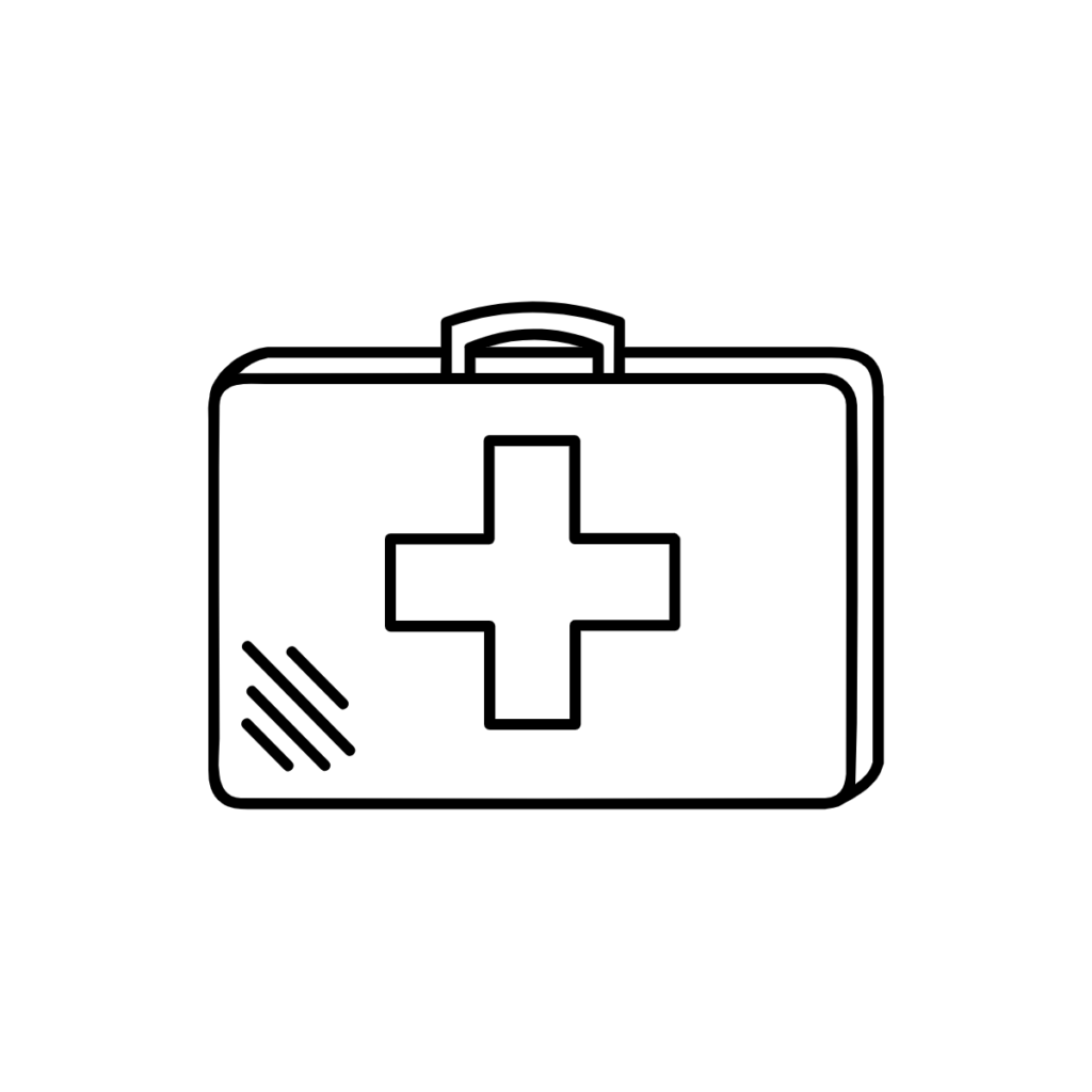 "Vector Icon of a First Aid Box, with a medical ""plus"" sign on top."