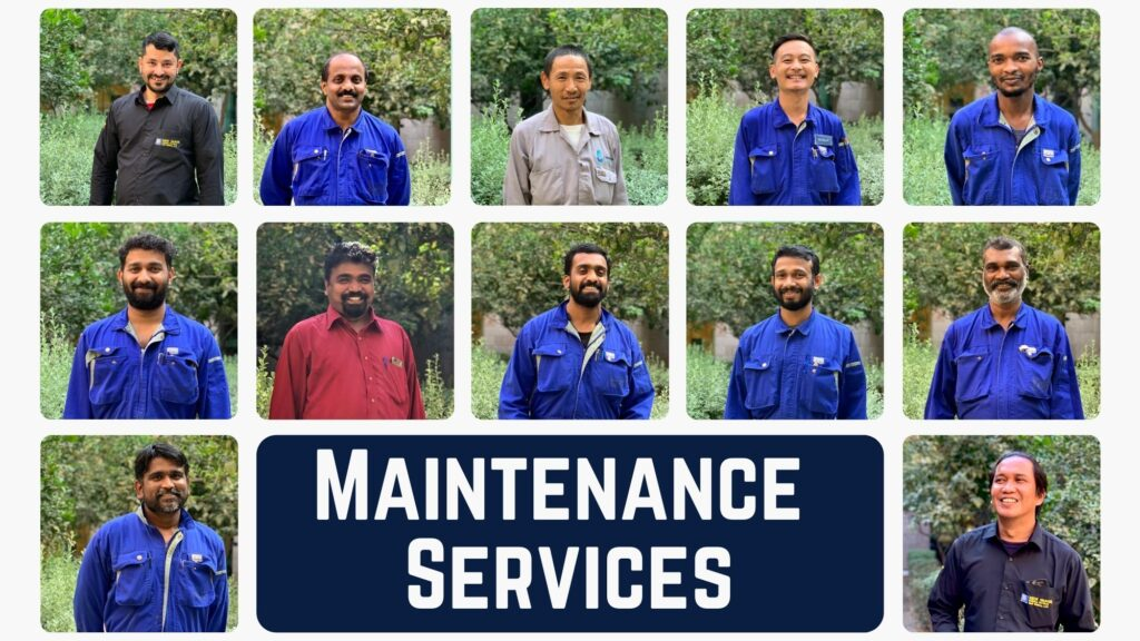 "Photo collage of the building maintenance team, with the text ""Maintenance Services"" in white on navy blue at the bottom centre of the image."