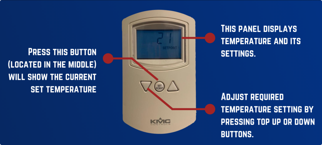 Image has a picture of the off-white thermostat on a gradient navy background. The text reads: This panel displays temperature and its settings.  Press this button (located in the middle) will show the current set temperature  Adjust required temperature setting by pressing top up or down buttons.