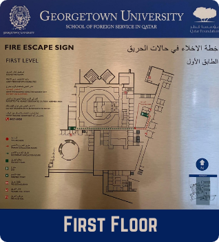 First Floor Emergency Evacuation Plan showing the fire escape signs