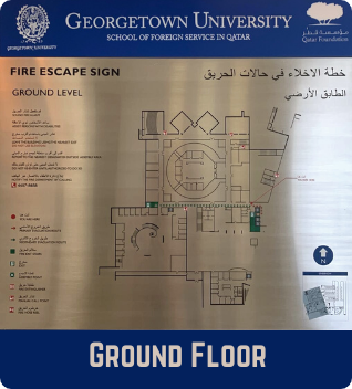 Ground Floor Emergency Evacuation Plan showing the fire escape signs