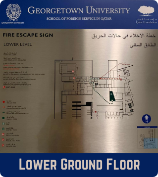 Lower Ground Floor Emergency Evacuation Plan showing the fire escape signs