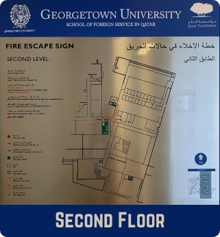 Second Floor Emergency Evacuation Plan showing the fire escape signs