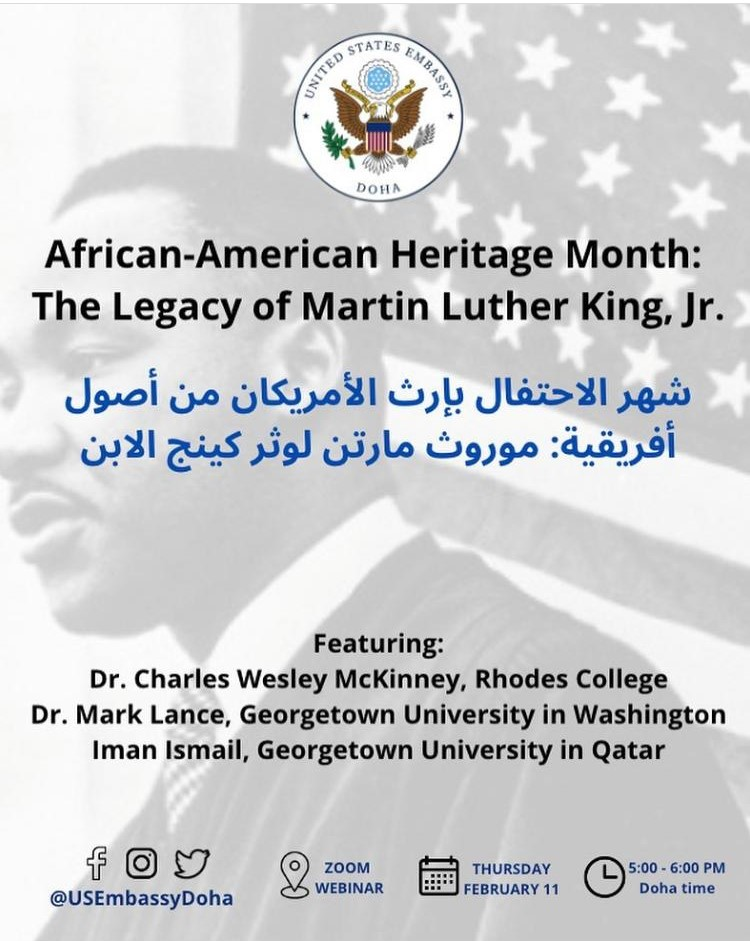 Image shows martin luther king in black and white, along with the event name and details in arabic, mentioned on the website again.