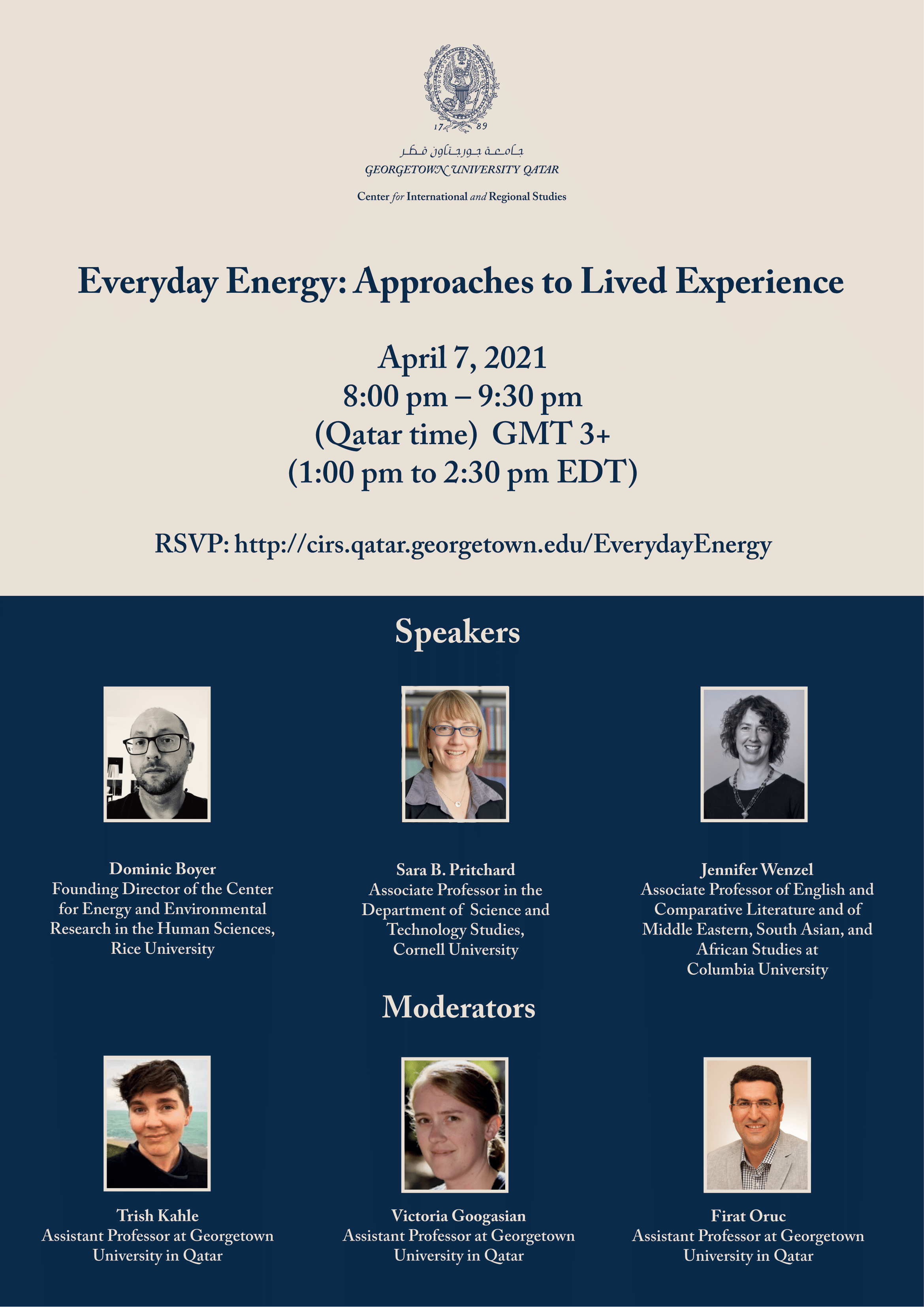 Image contains the CIRS logo, followed by text: Everyday Energy: Approaches to Lived Experience | April 7 | 8 pm to 9:30 pm | RSVP | Pictures of speakers mentioned in text.