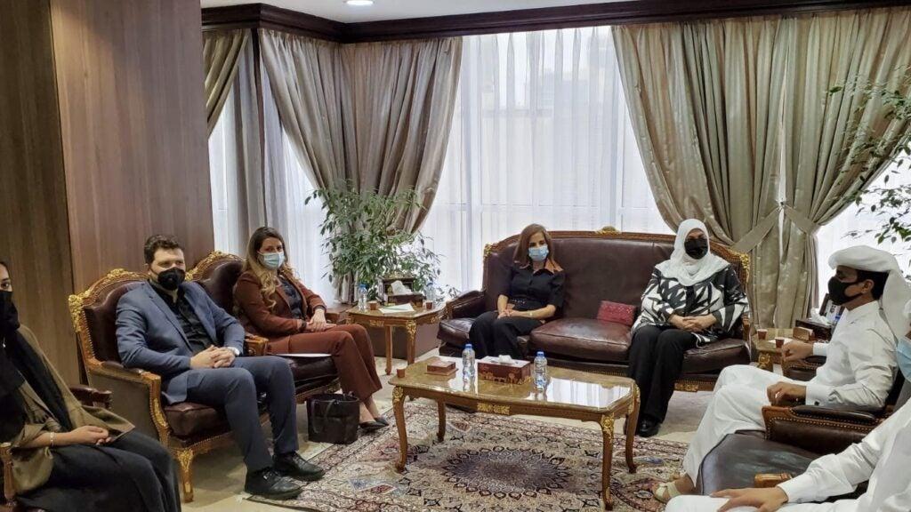 Roudah Al- Neama with IOM Chief of Mission in Qatar Iman YounisEreiqat
