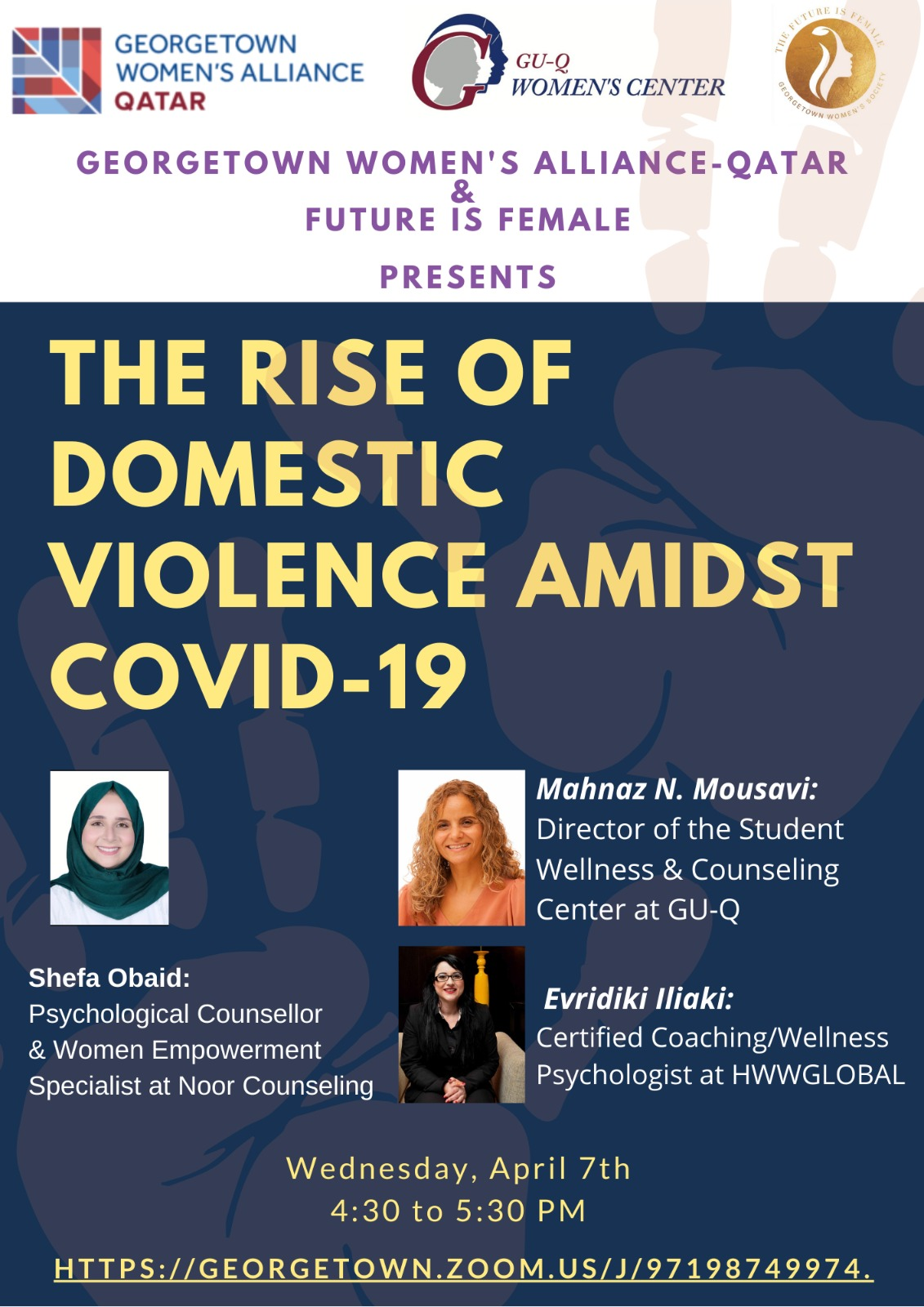 Poster for event titled The rise of domestic violence amidst covid-19