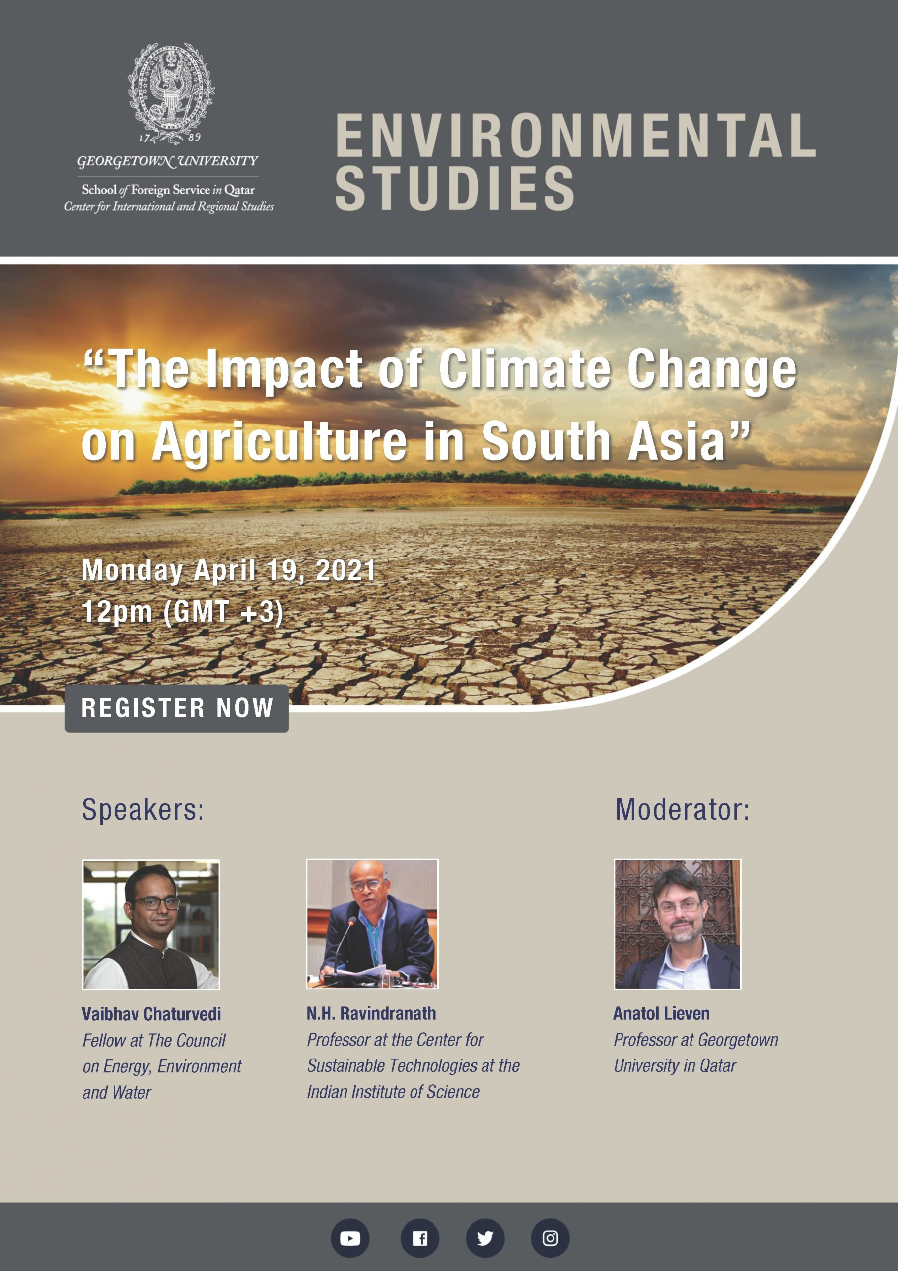 poster with a the title Environmental Studies and the CIRS logo on a grey background, an image of a dry and cracked scotched earth with the sun setting in the hosizon and the title of the event. Below is 3 images of the speakers and the moderator