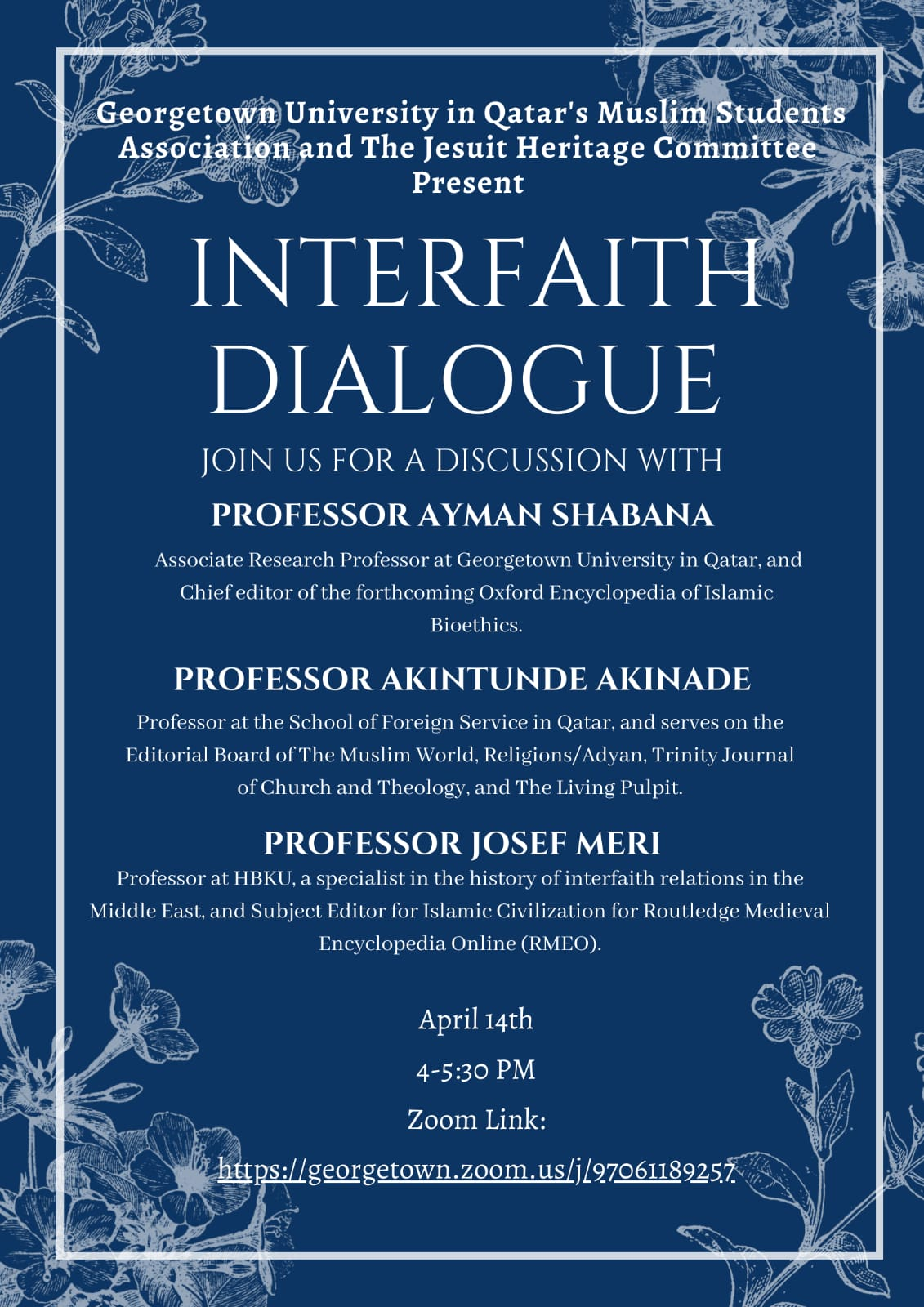 Poster for event titled Interfaith dialogue