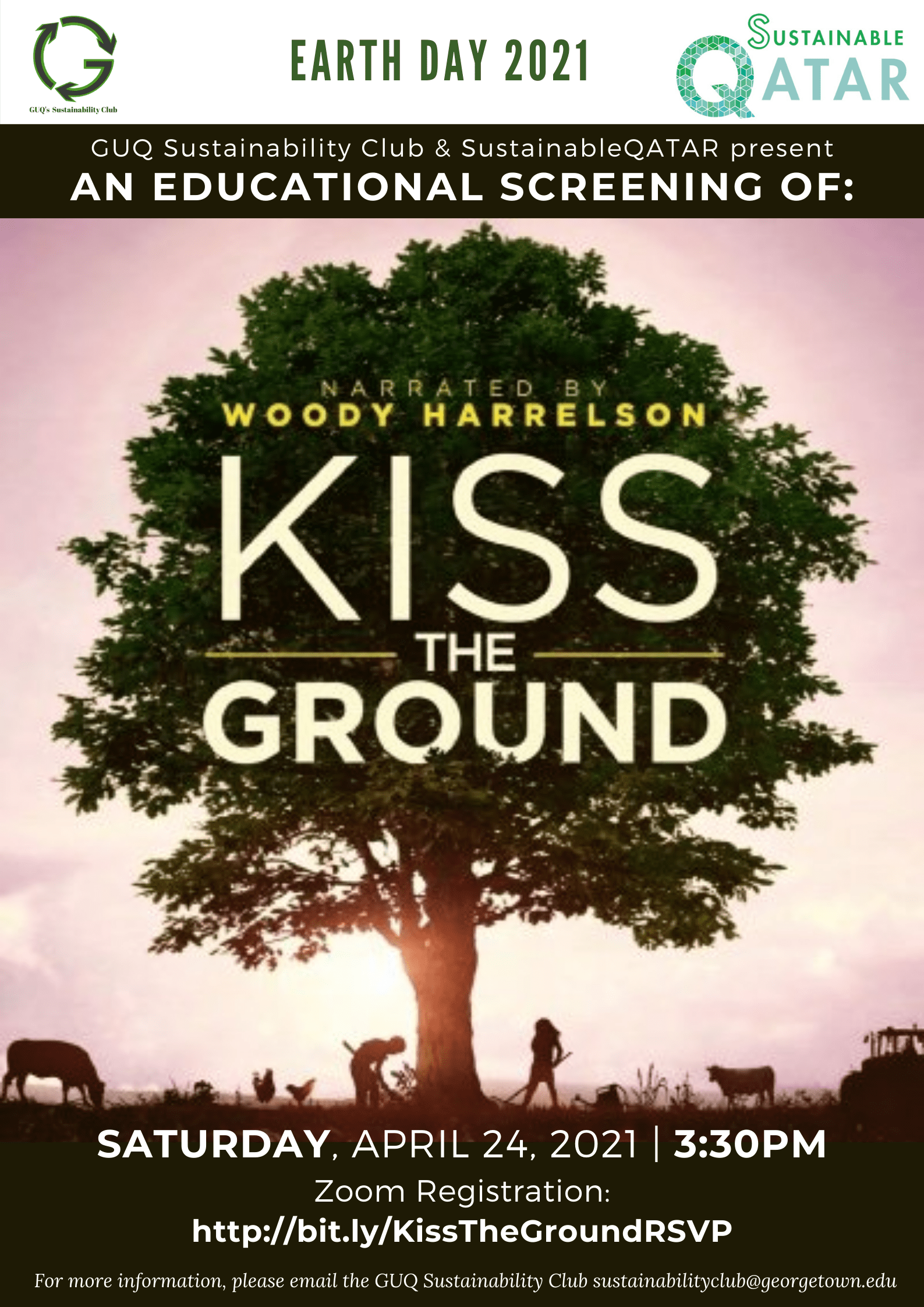 """image of a large tree with the sunset in the back ground and some two dark human shadows of a man and a woman on opposite side of the tree appearing to hold digging tools, and some farm animals walking around - The title of the movie """"Kiss the Ground"""" appears on the front of the tree and at the bottom of the poster is the event details."""