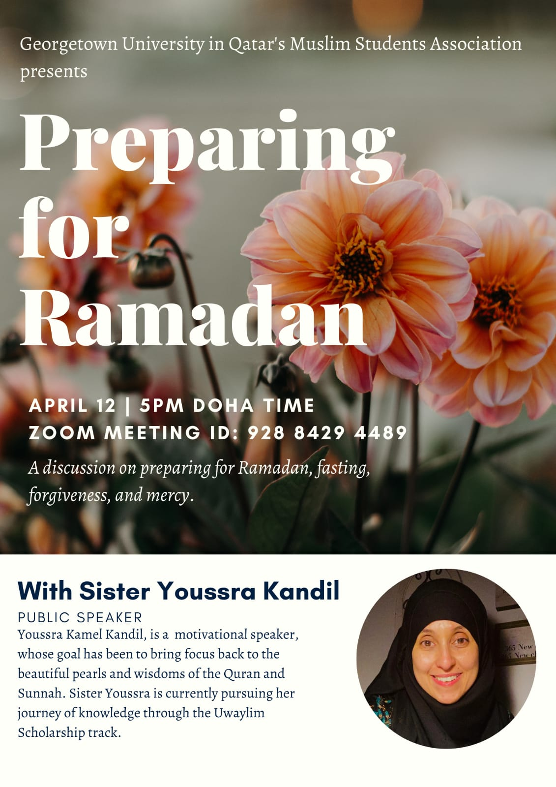 Poster with image of flowers and the title of the event as well as a small picture of the speaker at the bottom and a brief description of her background
